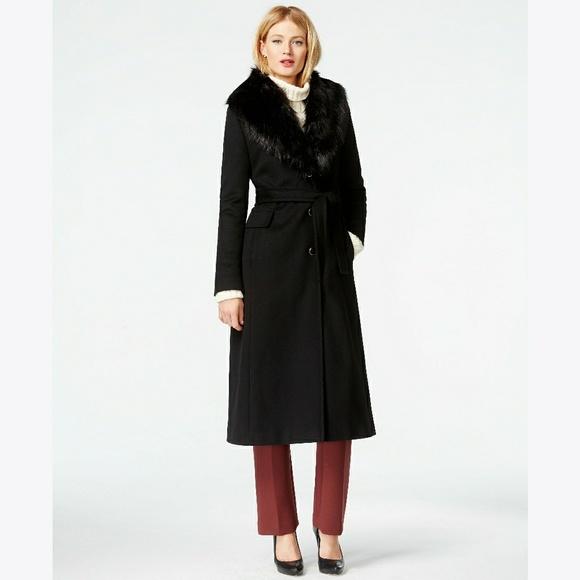 871dde86e7c CALVIN KLEIN Faux Fur Trim Belted Maxi Coat